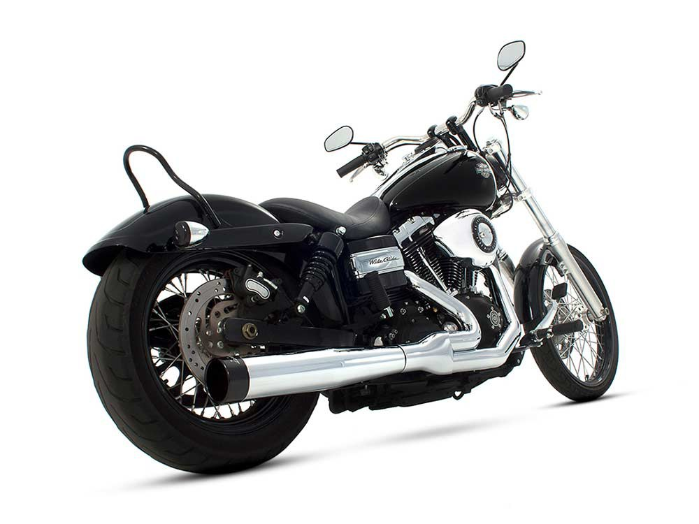 2-into-1 Exhaust with Chrome Finish & Black End Cap. Fits Dyna 2006-2017.