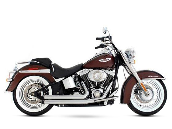 2-into-2 Exhaust with Chrome Finish & Black End Caps. Fits Softail 1986-2017.