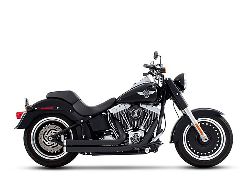 2-into-2 Exhaust with Black Finish & Chrome End Caps. Fits Softail 1986-2017.
