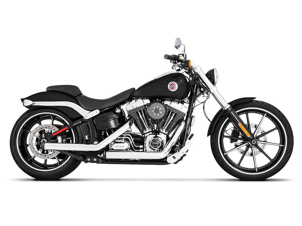Kick Back Exhaust with Chrome Finish & Black End Caps. Fits Softail Breakout 2013-2017 & Rocker 2008-2011 Models.