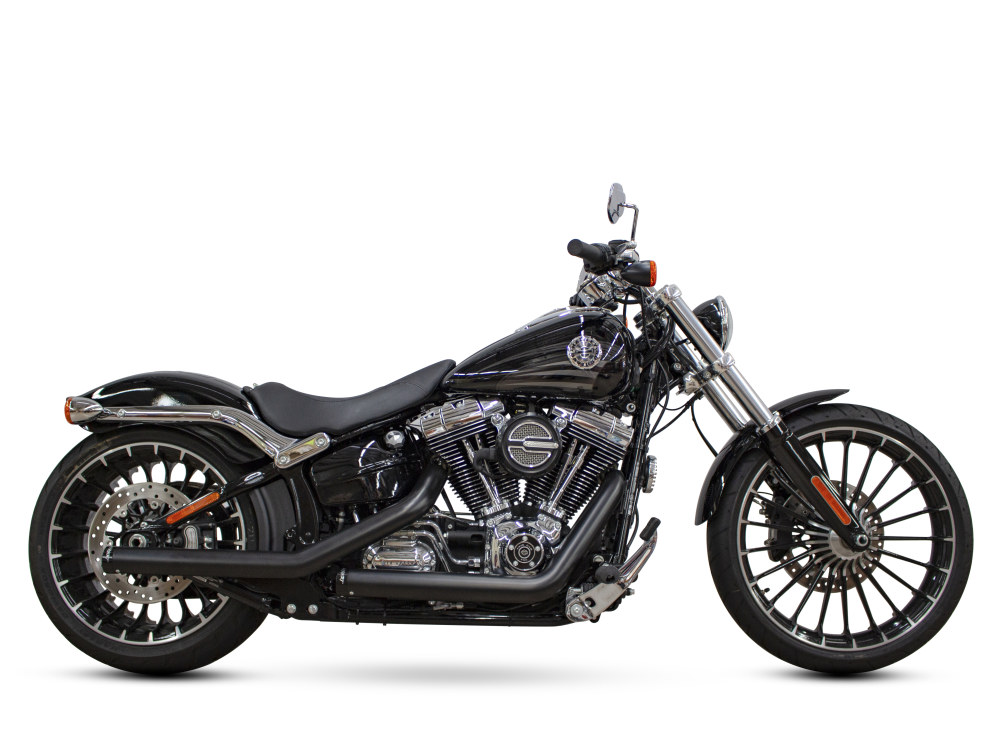 Kick Back Exhaust with Black Finish & Black End Caps. Fits Softail Breakout 2013-2017 & Rocker 2008-2011 Models.