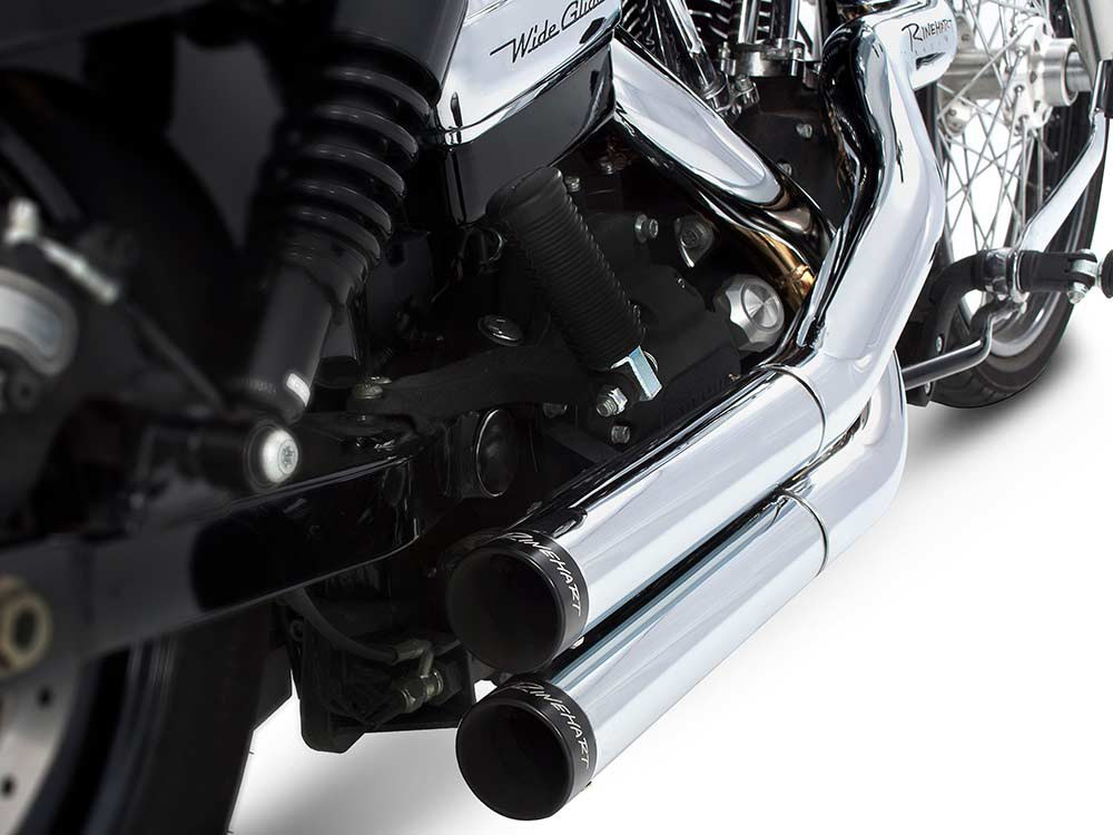Cross Back Exhaust with Chrome Finish & Black End Caps. Fits Dyna 2006-2017.