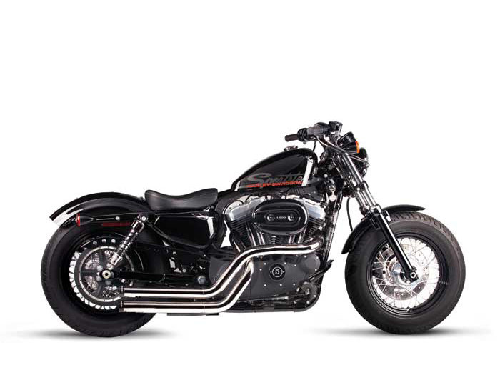 Cross Back Exhaust with Chrome Finish & Black End Caps. Fits Sportster 2004-2013.