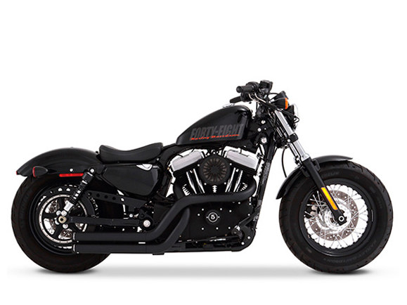 Cross Back Exhaust with Black Finish & Black End Caps. Fits Sportster 2004-2013.