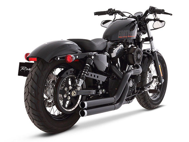 Cross Back Exhaust - Black with Chrome End Caps. Fits Sportster 2004-2013.