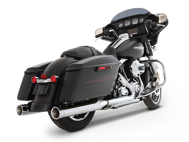 4in. Slip-On Mufflers - Chrome with Chrome End Caps. Fits Touring 1995-2016 & Trike 2017-2020.