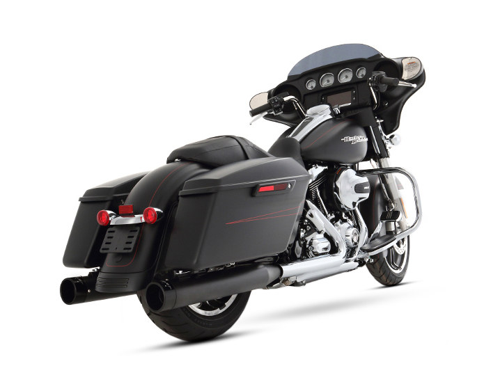 4in. Slip-On Mufflers - Black with Black End Caps. Fits Touring 1995-2016 & Trike 2017up.