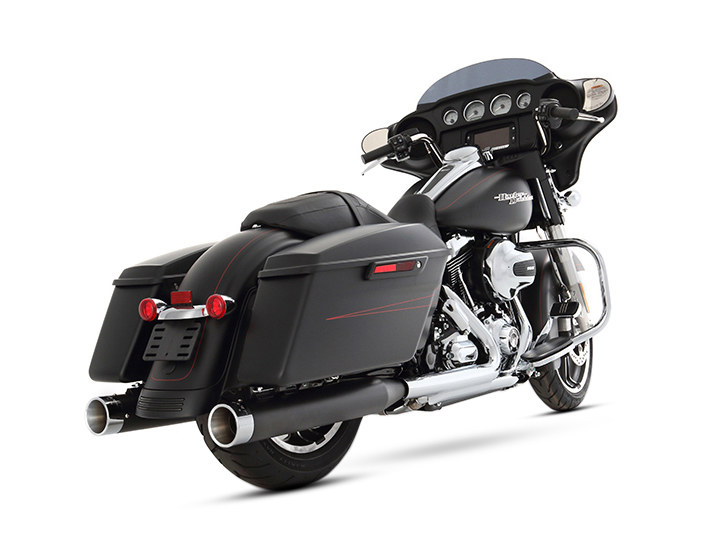 4in. Slip-On Mufflers - Black with Chrome End Caps. Fits Touring 1995-2016 & Trike 2017up.