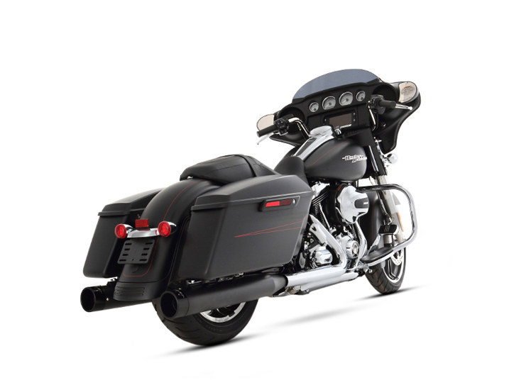 4in. Slip-On Mufflers - Black with Black End Caps. Fits Touring 2017up.