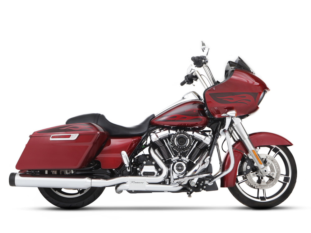 4-1/2in. MotoPro 45 Traditional Slip-On Mufflers - Chrome with Black End Caps. Fits Touring 2017up.