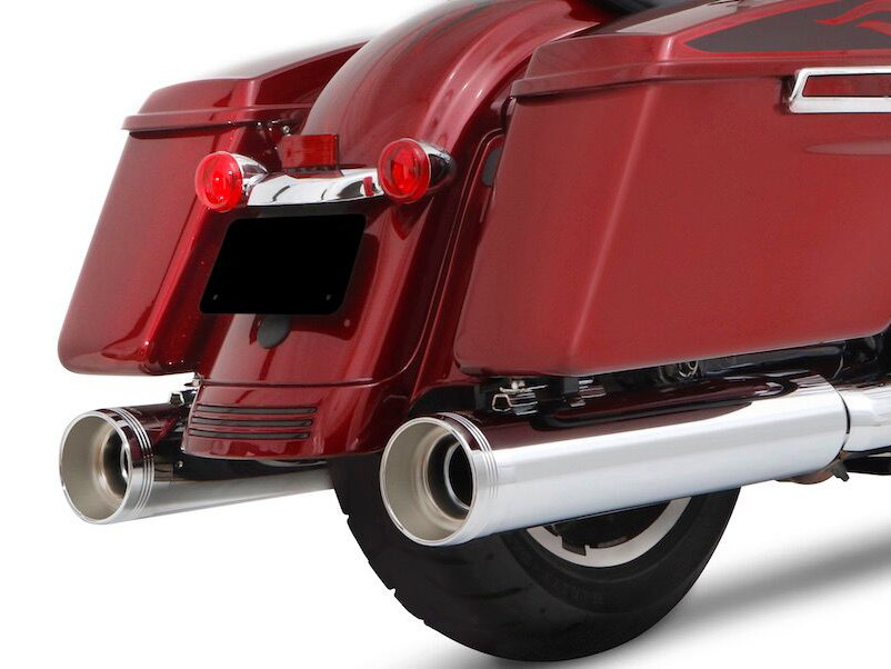 4-1/2in. DBX45 Slip-On Mufflers - Chrome with Chrome End Caps. Fits Touring 2017up.