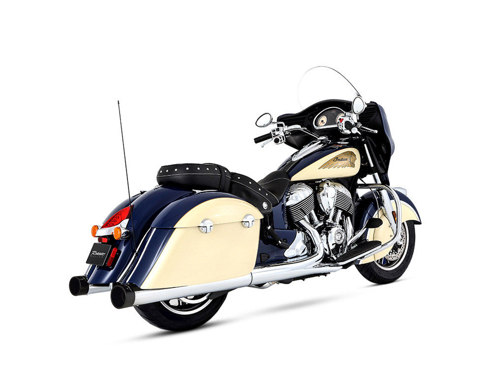 4in. Slip-On Mufflers - Chrome with Black End Caps. Fits Indian Big Twin with Hard Saddle Bags.