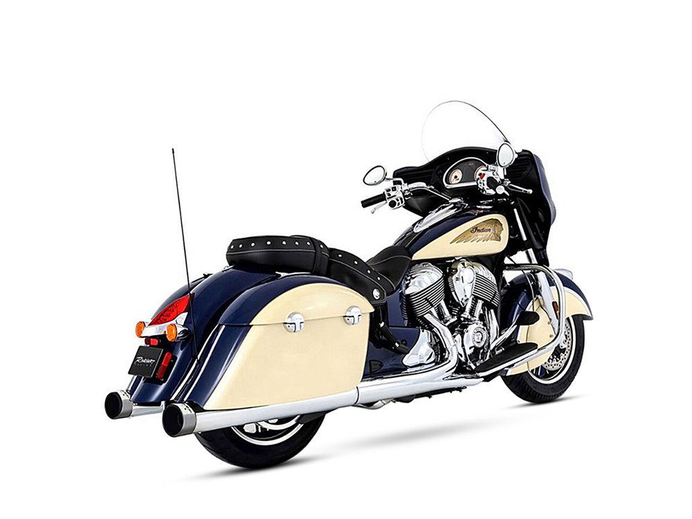 4in. Slip-On Mufflers - Chrome with Chrome End Caps. Fits Indian Big Twin with Hard Saddle Bags.