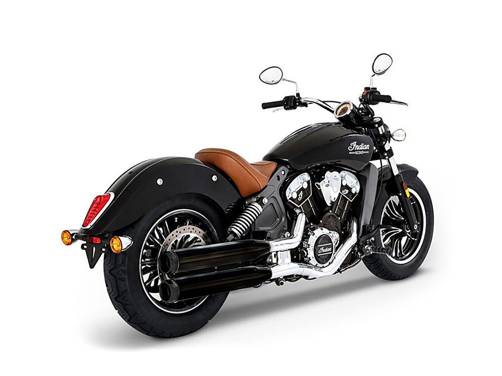 3-1/2in. Slip-On Mufflers - Black with Black End Caps. Fits Indian Scout 2015up.
