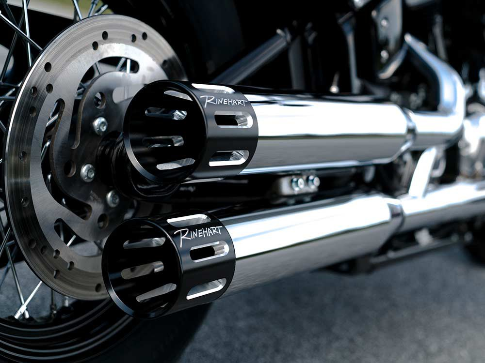 3-1/2in. Slip-On Mufflers - Chrome with Black Contrast Cut Slotted End Caps. Fits Softail Slim, Street Bob, Low Rider, Breakout & Fat Boy 2018up & Standard 2020up.