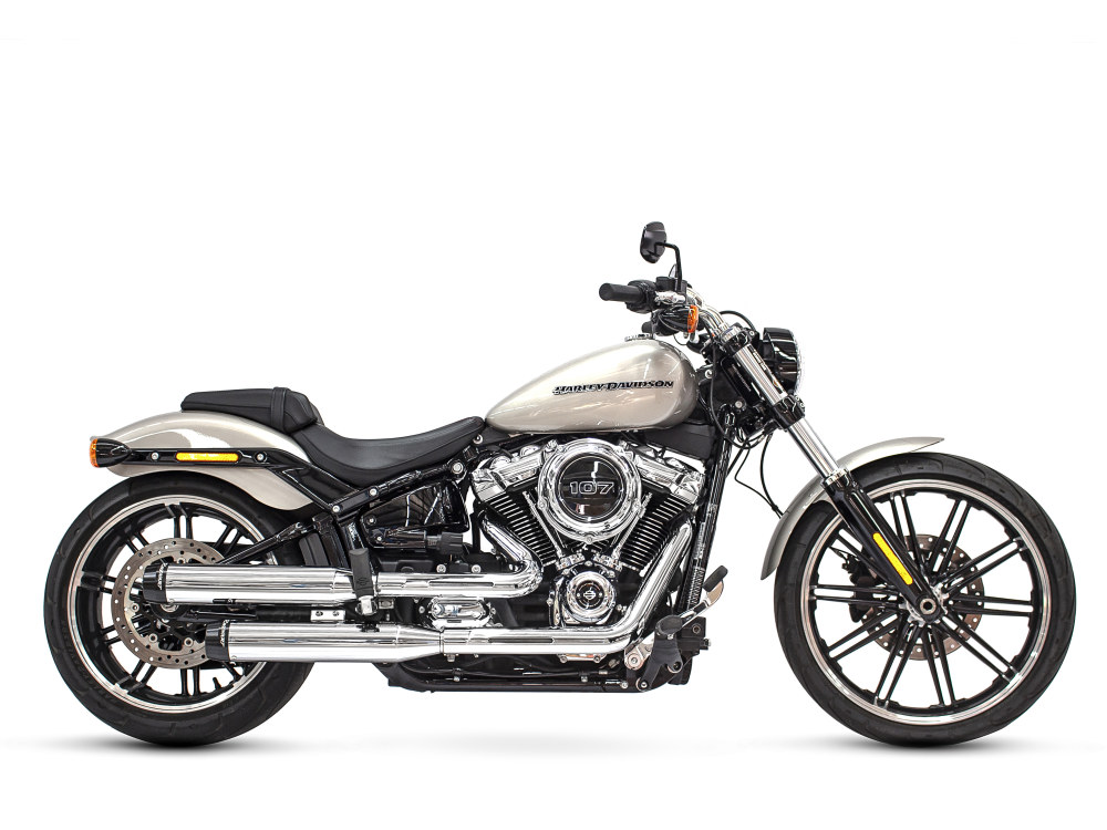 3-1/2in. Slip-On Mufflers - Chrome with Contrast Cut Black End Caps. Fits Softail Slim, Street Bob, Low Rider, Breakout & Fat Boy 2018up & Standard 2020up.