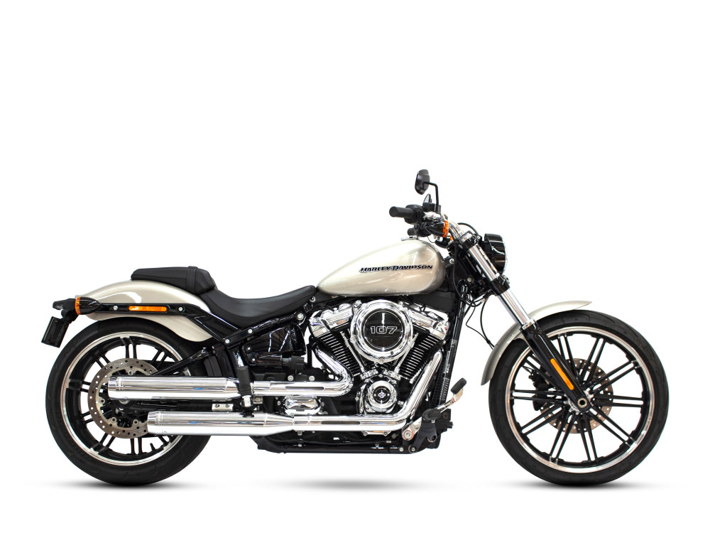 3-1/2in. Slip-On Mufflers - Chrome with Chrome End Caps. Fits Softail Slim, Street Bob, Low Rider, Breakout & Fat Boy 2018up & Standard 2020up.