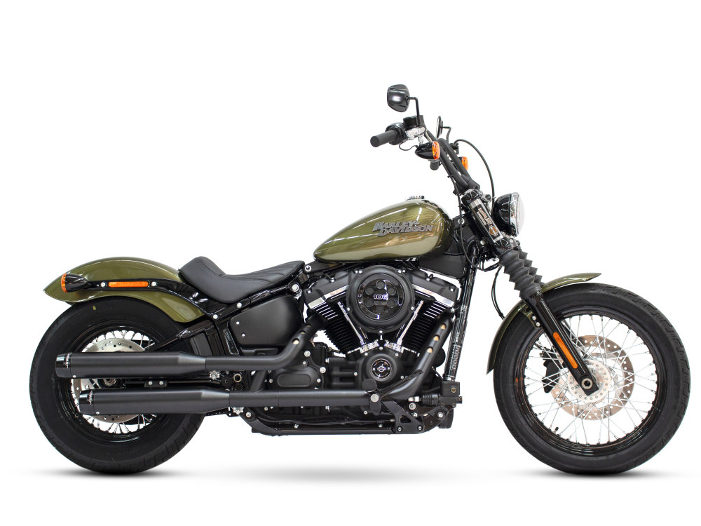 3-1/2in. Slip-On Mufflers - Black with Black Contrast Cut End Caps. Fits Softail Slim, Street Bob, Low Rider, Breakout & Fat Boy 2018up & Standard 2020up.