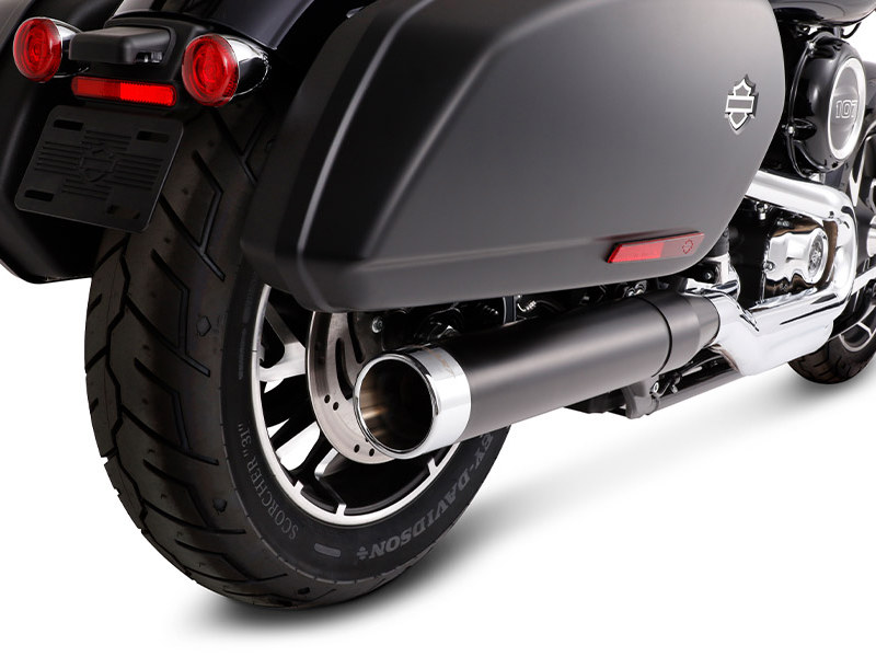 4in. Slip-On Muffler - Black with Chrome End Cap. Fits Sport Glide 2018up.