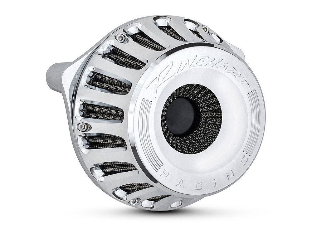 Rinehart Air Filter Assembly; Sportster'91up. Moto Series with High Flow Element & Chrome Finish.