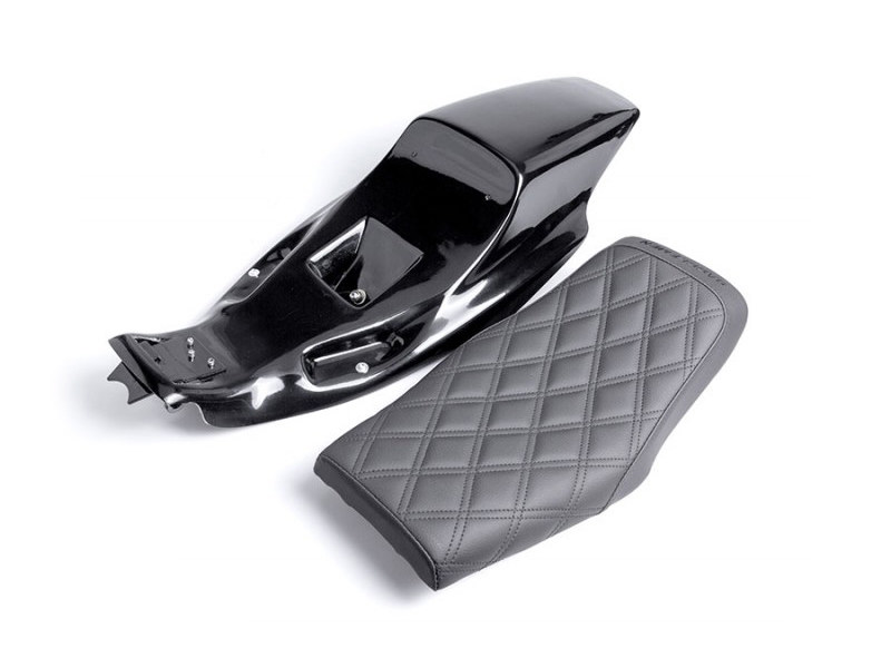 Eliminator Tail Section & Seat Kit with Black Double Diamond Lattice Stitch. Fits  Sportster 2004up.