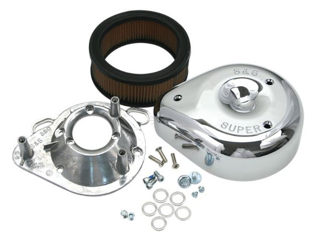 Air Filter Assembly; Big Twin'93up. Single Bore 58mm Throttle Body. Teardrop with High Flow Element & Chrome Finish.