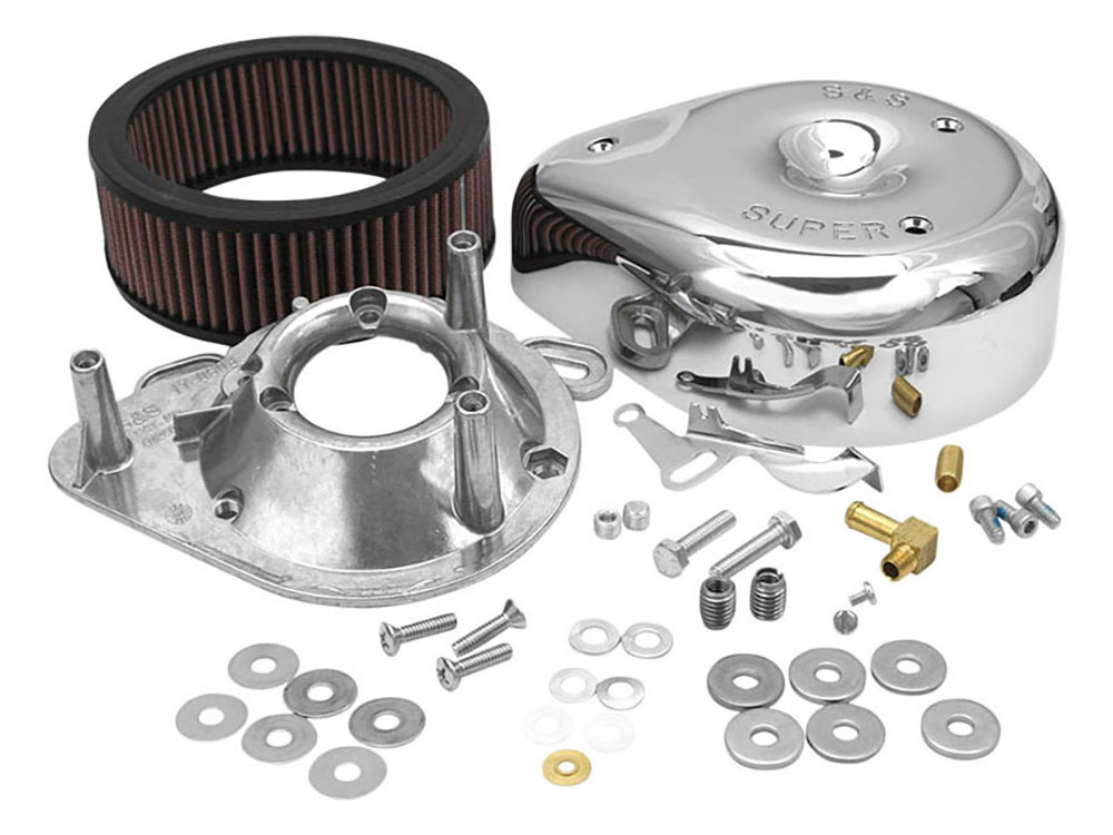 Air Filter Assembly; Big Twin'84-91 & Sportster'86-90 with Super E or G Carburettor. Teardrop with High Flow Element & Chrome Finish.