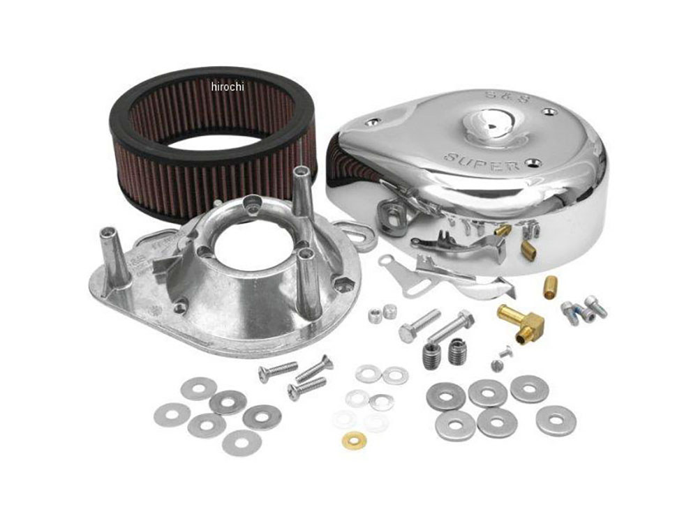 Air Filter Assembly; Twin Cam'99up with Super E or G Carburettor. Teardrop with High Flow Element & Chrome Finish.