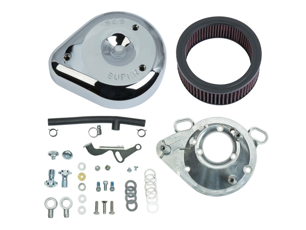 Air Filter Assembly; Big Twin'92-99 & Sportster'91-03 with Super E or G Carburettor. Teardrop with High Flow Element & Chrome Finish.