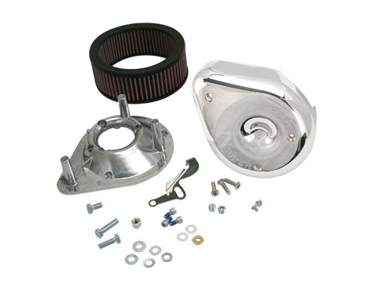 Air Filter Assembly; Big Twin'66-84 with Super E or G Carburettor. Notched Teardrop with High Flow Element & Chrome Finish.
