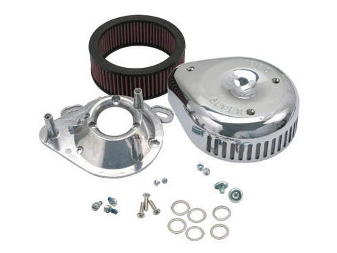 Teardrop Air Filter Assembly; Big Twin'95-16. Single Bore 52mm Throttle Body. Teardrop with High Flow Element & Chrome Finish.
