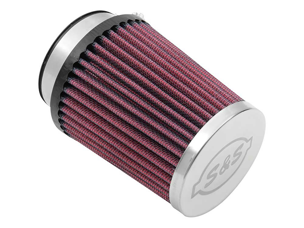 Air Filter Element; Induction System. Conical with Stainless Cap & Clamp. High Flow Element & Red Finish.