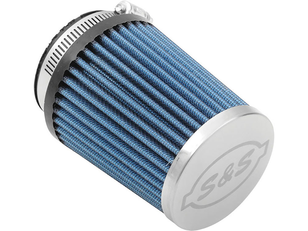 Air Filter Element; Induction System. Conical with Stainless Cap & Clamp. High Flow Element & Blue Finish.