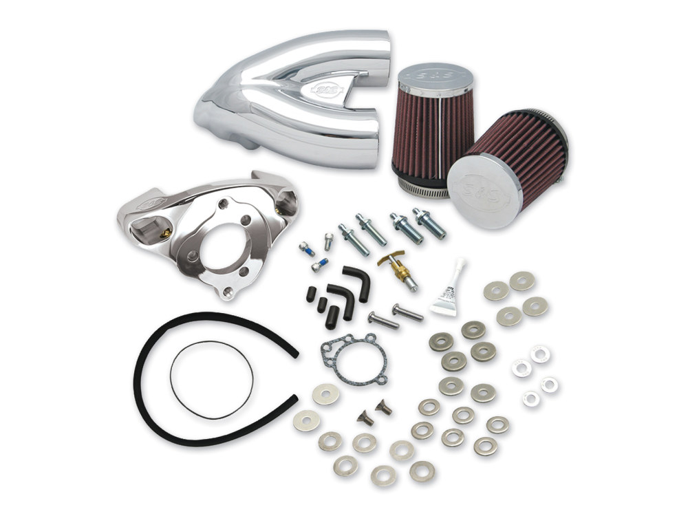 Single Bore Tuned Induction System with Chrome Finish. Fits Big Twin 1984-2006 with Super E or G Carburetor.