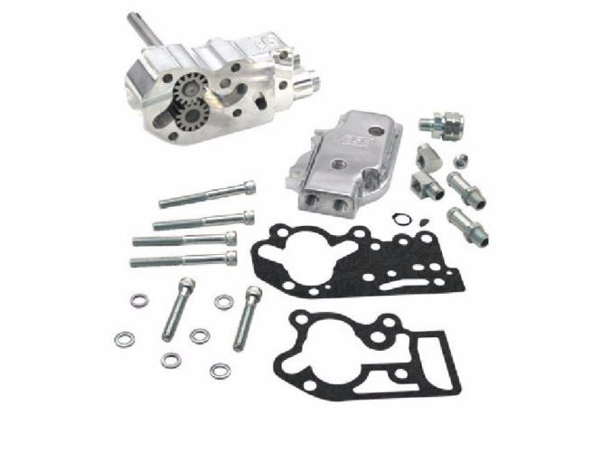 Oil Pump with Universal Cover & Polished Finish. Fits Big Twins 1992-99