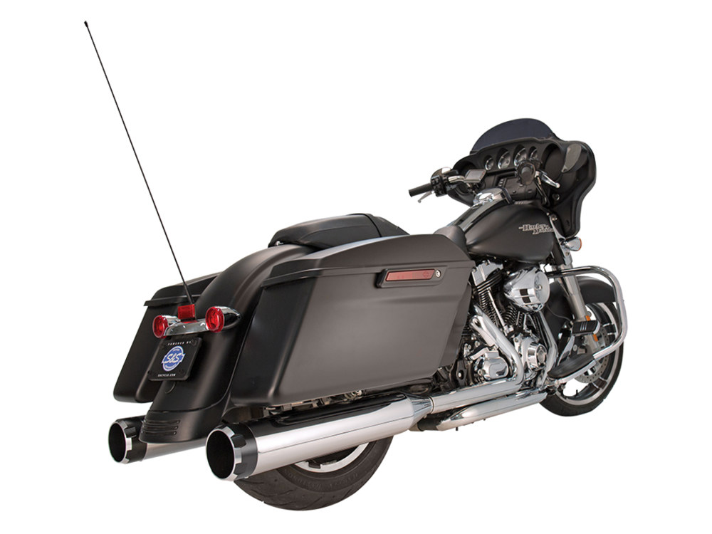 4-1/2in. Mk45 Slip-On Mufflers - Chrome with Black Thruster End Caps. Fits Touring 1995-2016.