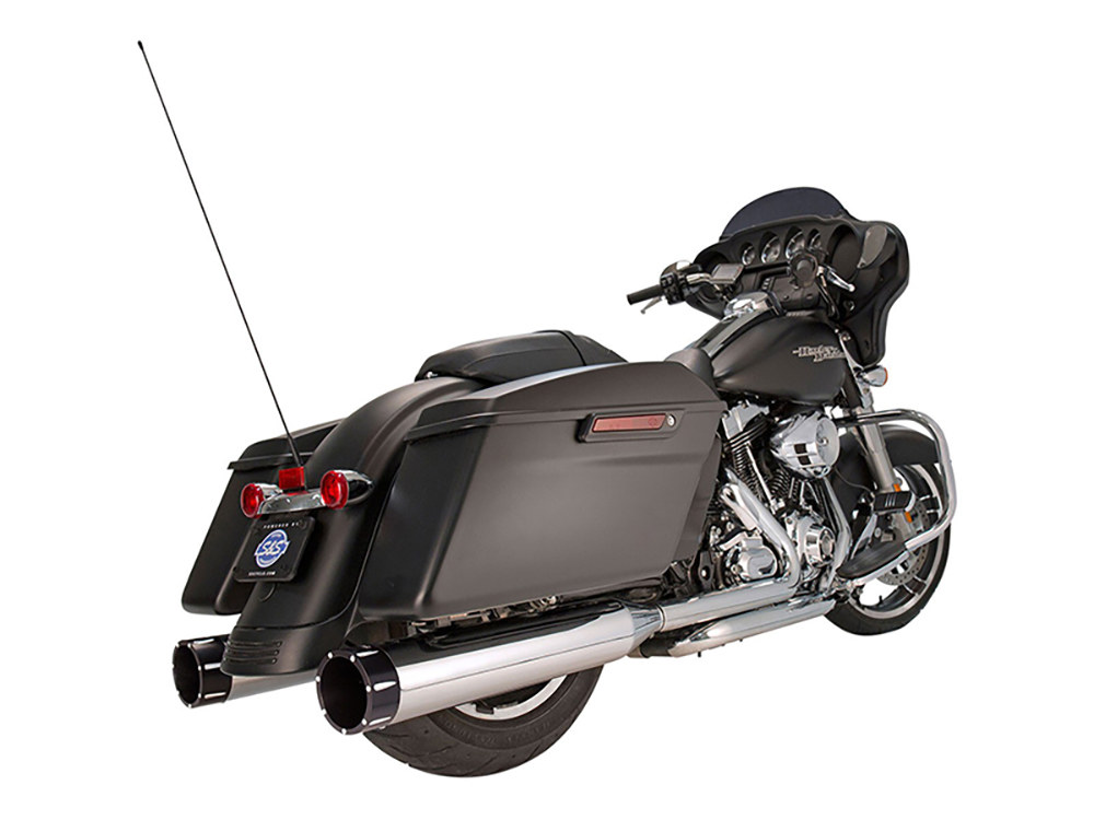4-1/2in. Mk45 Slip-On Mufflers - Chrome with Black Tracer End Caps. Fits Touring 1995-2016.