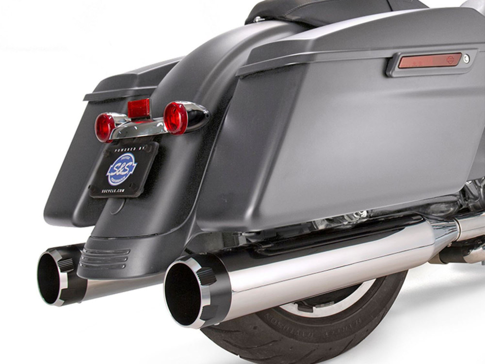 4-1/2in. Mk45 Slip-On Mufflers - Chrome with Black Thruster End Caps. Fits Touring 2017up.