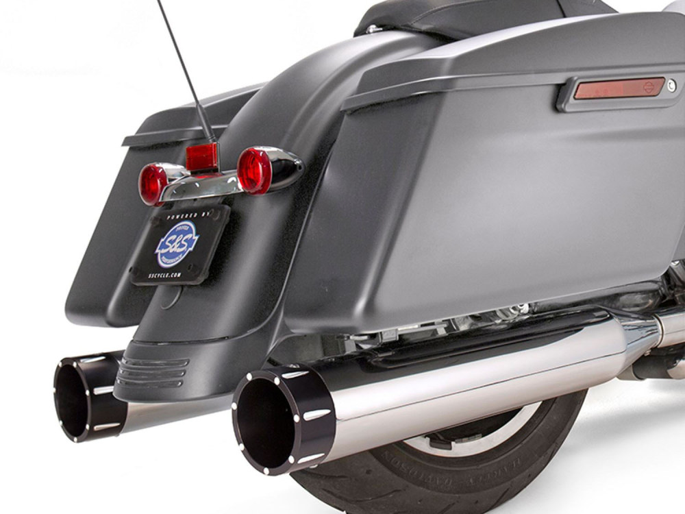 4-1/2in. Mk45 Slip-On Mufflers - Chrome with Black Tracer End Caps. Fits Touring 2017up.