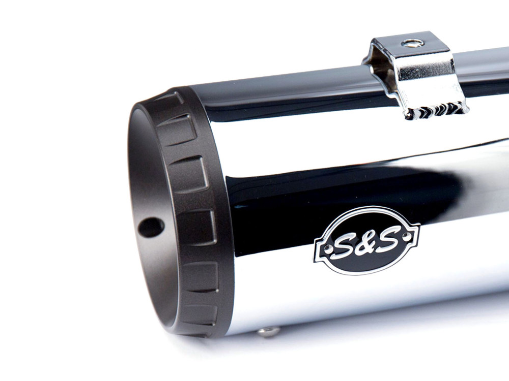 4in. Grand National Slip-On Mufflers - Chrome with Black End Caps. Fits Touring 1995-2016 & Trike 2017up.