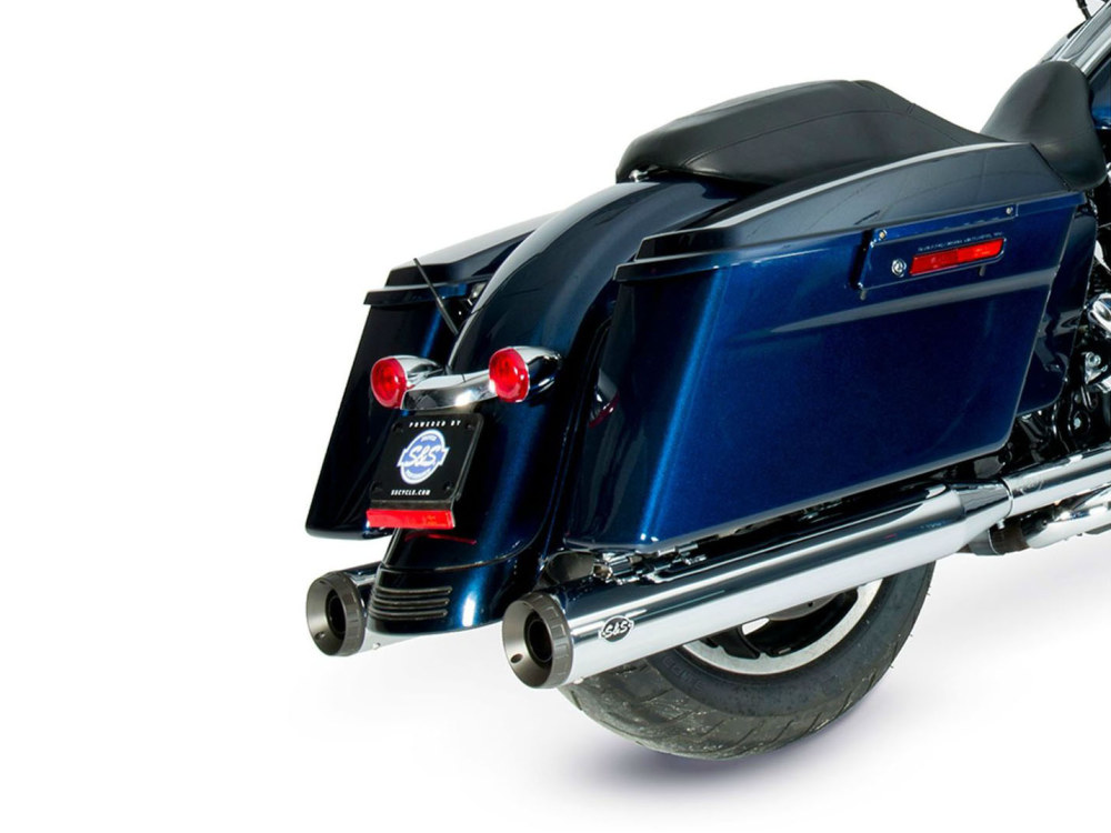4in. Grand National Slip-On Mufflers - Chrome with Black End Caps. Fits Touring 1995-2016 & Trike 2017-2020.