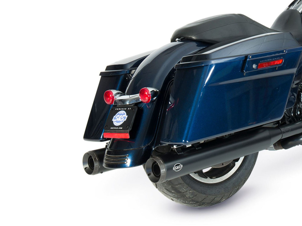 4in. Grand National Slip-On Mufflers - Black with Black End Caps. Fits Touring 1995-2016 & Trike 2017up.