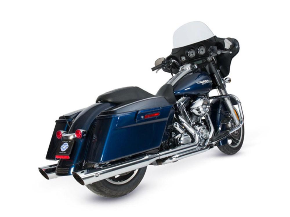 4in. Grand National Slash Cut Slip-On Mufflers - Chrome. Fits Touring 1995-2016 & Trike 2017-2020.