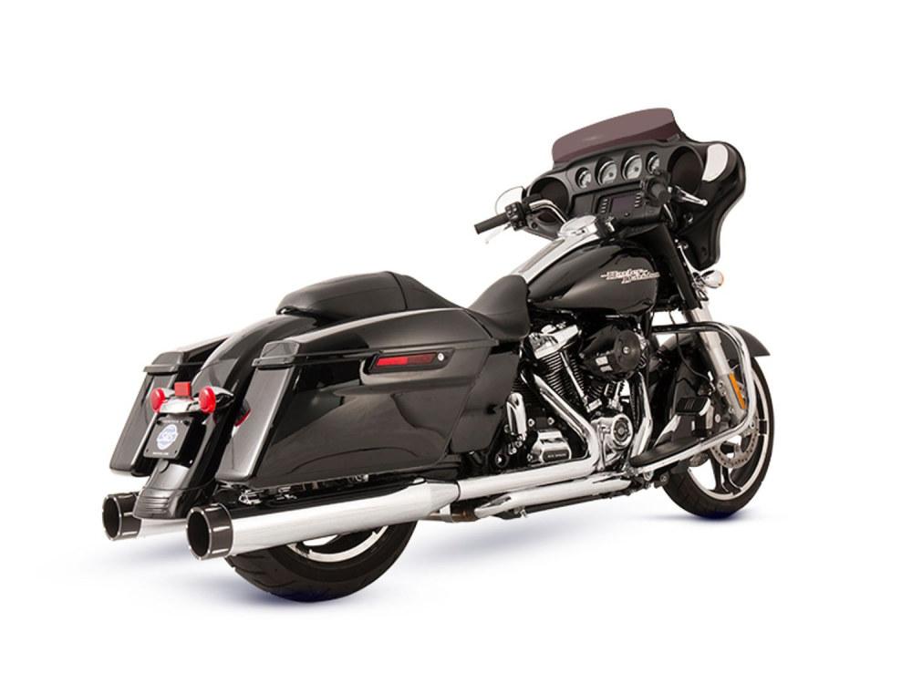 El Dorado 2-into-2 Dual Exhaust - Chrome with Black Tracer End Caps. Fits Touring 2017up.