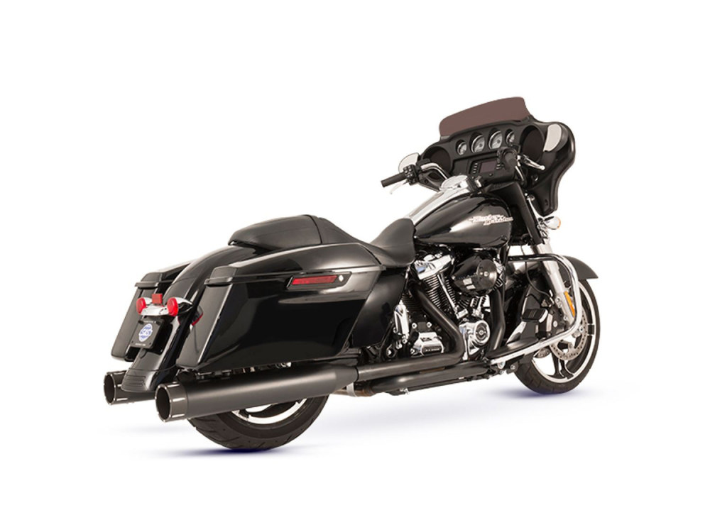 El Dorado 2-into-2 Dual Exhaust - Black with Black Tracer End Caps. Fits Touring 2017up.