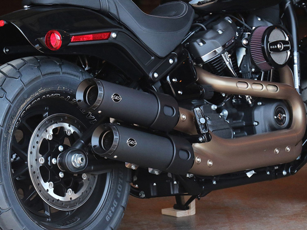 4in. Grand National Slip-On Mufflers - Black. Fits Fat Bob 2018up.