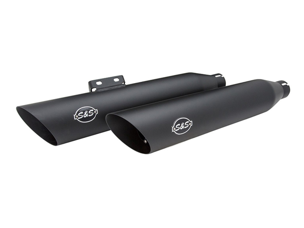 3-1/2in. Slash Cut Slip-On Mufflers - Black. Fits Softail Slim, Street Bob, Low Rider, Breakout & Fat Boy 2018up.