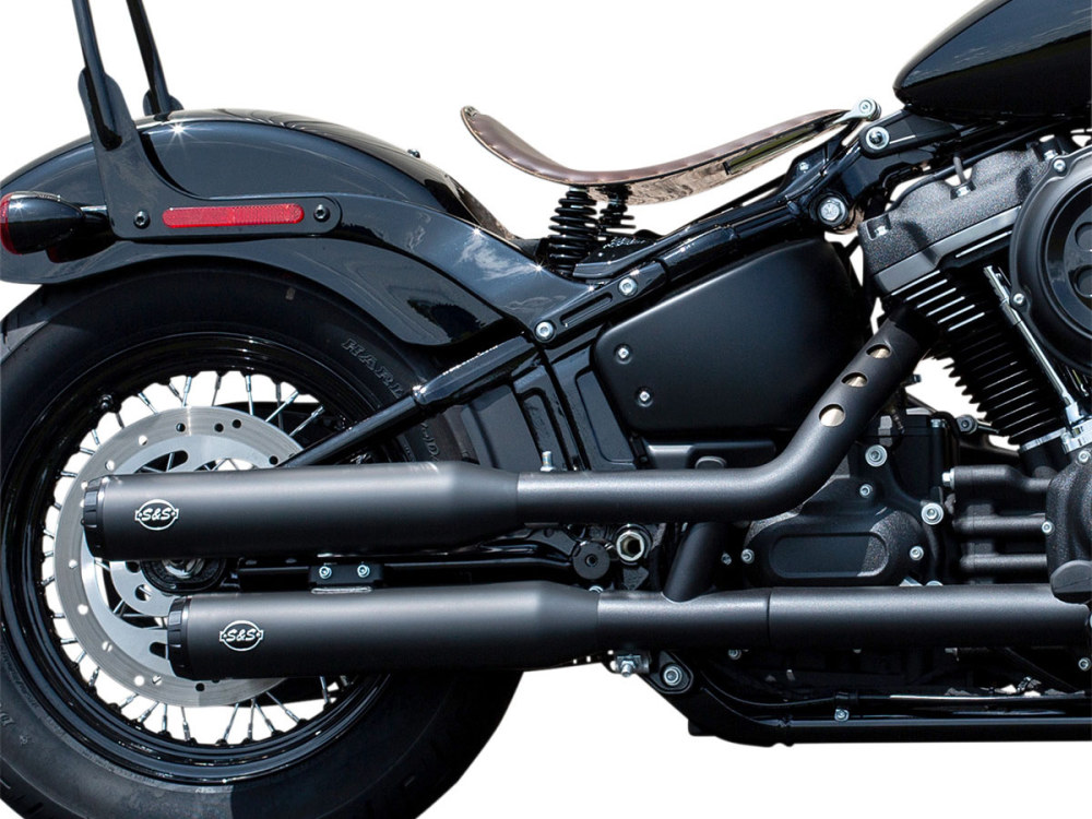 3-1/2in. Grand National Slip-On Mufflers - Black with Black End Caps. Fits Softail Slim, Street Bob, Low Rider, Breakout & Fat Boy 2018up & Standard 2020up.