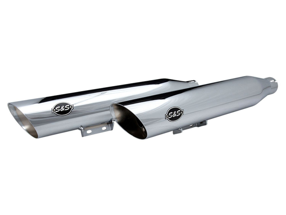 3-1/2in. Slash Cut Slip-On Mufflers - Chrome. Fits Deluxe & Heritage Classic 2018up.