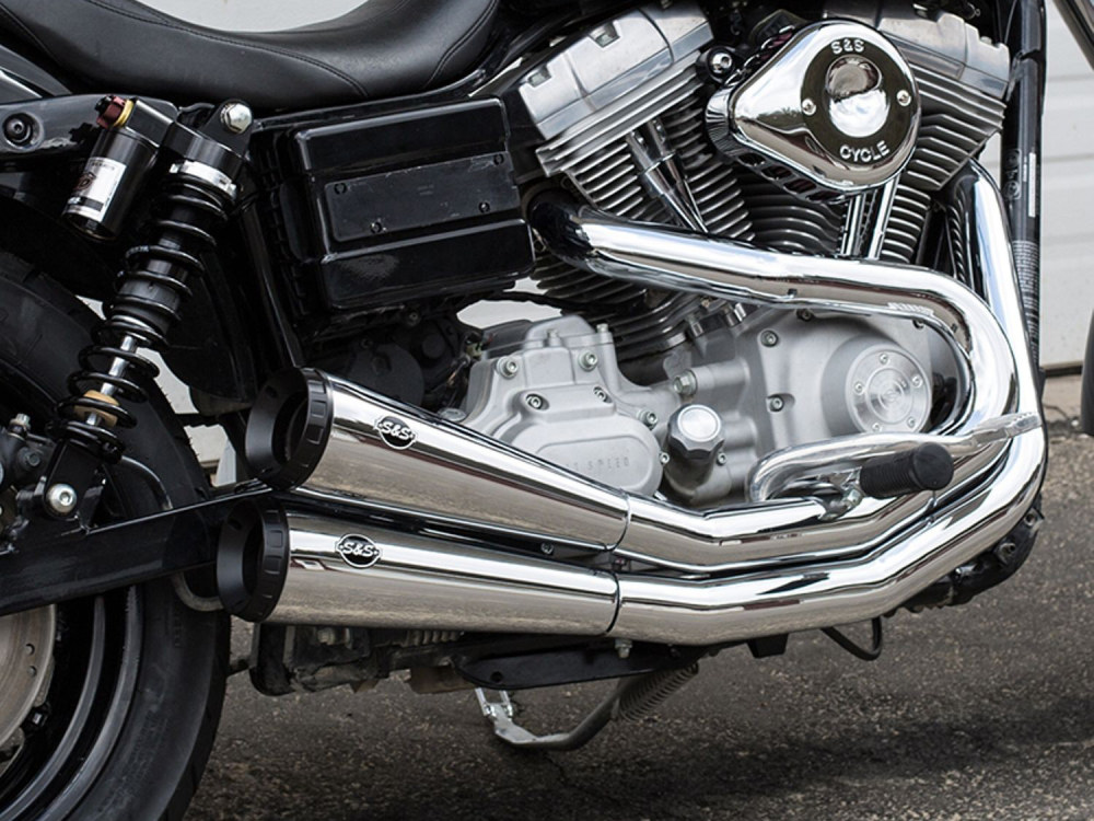 Grand National 2-into-2 Exhaust - Chrome with Black End Caps. Fits Dyna 2006-2017.